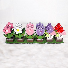 Happy Easter Wooden Flowers and Mushrooms Home Decor