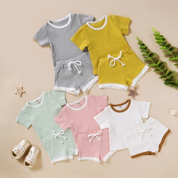 Solid Short-sleeve Top and Shorts Set