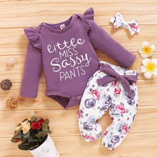 3pcs Baby Girl Sweet Floral Baby's Sets Long-sleeve Romper Infant Clothing Outfits
