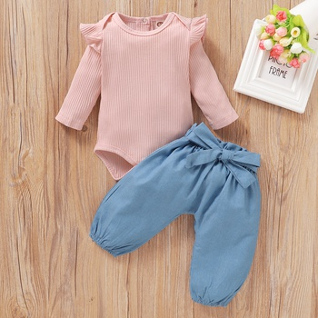Baby Girl Dark Pink Ruffled Shoulder Bodysuit and Bowknot Jeans Set