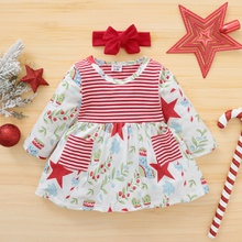 2-pcs Baby Girl Stars Sweet Dress Christmas Sweet Princess dress Baby Girl Clothes