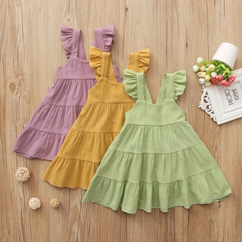 Baby Girl Vacation Dress Flutter-sleeve Solid Cotton Princess Dress