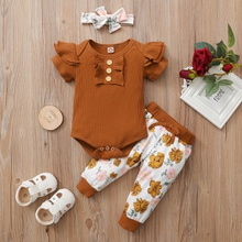 3pcs Baby Girl Sweet Floral Solid Short-sleeve Cotton Romper Baby's Sets