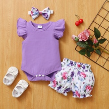 3-piece Baby / Toddler Ruffled Bodysuit, Floral Shorts and Headband Set