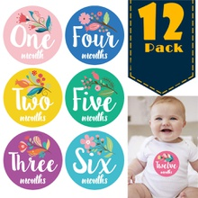 12-pack Reusable Floral Print Baby Monthly Milestone Stickers
