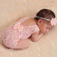 2-piece Lace Baby Photography Prop Jumpsuit and Headband Set