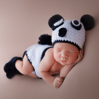 3pcs Newborn Photography Props Cute Panda Photography Clothes
