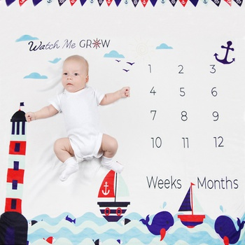 Newborn Infant Photo Background Monthly Growth Cloth Cartoon Cute Baby Milestone Blanket