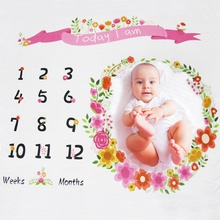 Flower Newborn Infant Photo Background Monthly Growth Cloth Cute Baby Trendy Blanket