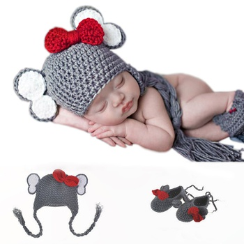 2PCS Baby Knitting Newborn Photography Cute Animal Shape Bowknot Knitted Hand Crochet Newborn Photography Suit