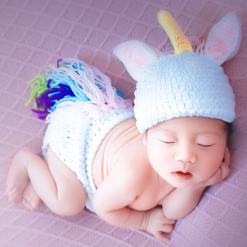 2pcs Newborn Cartoon Cute Unicorn Photography Set