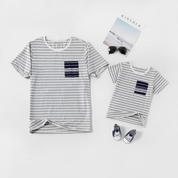 Stripe Print With Pockets Design Short-sleeve T-shirts for Dad and Me