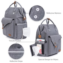 Waterproof Polyester Cloth Diaper Bag Backpack Large Capacity, Waterproof Multifunctional Maternity Baby Changing Bags in Grey with Stroller Strap Changing Pad