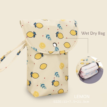 Cartoon Print Fruit Lemon Waterproof Hanging Cloth Diaper Wet/Dry Bags