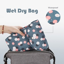 Cartoon Print Floral Waterproof Hanging Cloth Diaper Wet/Dry Bags
