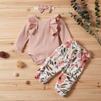 3-piece Baby Girl Ruffled Sleeve Flounced Collar Bodysuit and Floral Pants with Headband Set