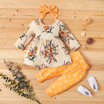 3-piece Baby Pretty Floral Dress Top and Polka Dots Pants with Headband Set
