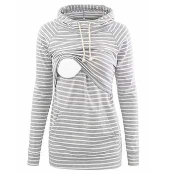 Casual Striped Long-sleeve Nursing Hoodie