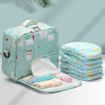 Waterproof Portable Cartoon Print Diaper Bag