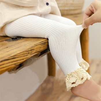 Baby / Toddler Girl Solid Knitted Lace Ruffled Leggings