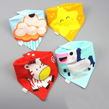 Baby Bibs Triangle Cotton Bibs Three-layer Waterproof Cartoon Print Bibs Baby Boys Girls Feeding Smock Infant Burp Cloth