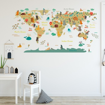 Map Design Worldwide Animal Wall Decor