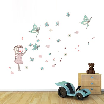 Cartoon Girl Butterfly Creative Wall Sticker