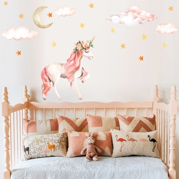 Coral Pink Flower Unicorn  Wall  Sticker Home Decoration