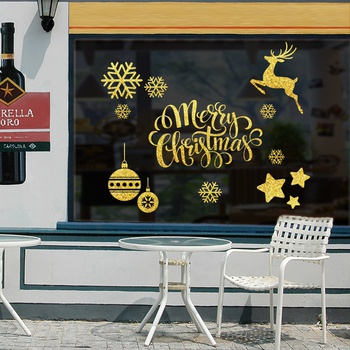 Gold Snowflake Fawn Snowman Merry Christmas Removable Shop Window Glass Wall Stickers