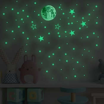 Luminous Moon And Star Wall Sticker Home Decoration Stickers For Kids