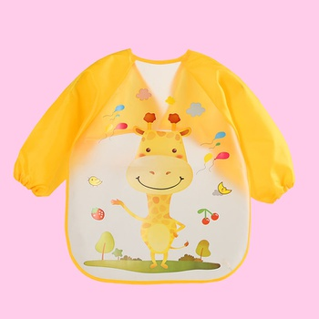 Waterproof Cartoon Print Long-sleeve Feeding Bib