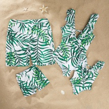Green Leaf Print One-piece Family Matching Swimsuits