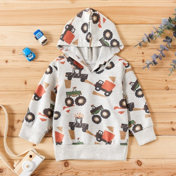 Toddler Boy Trendy Truck Print Hoodie (No Shoes)