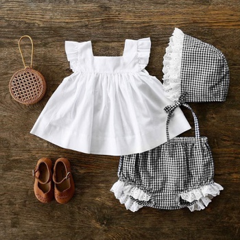 3-piece Baby / Toddler Flutter-sleeve Top and Plaid Style Shorts with Hat Set