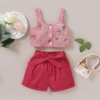2-piece Baby / Toddler Girl Pretty Floral Decor Striped Top and Solid Shorts Set