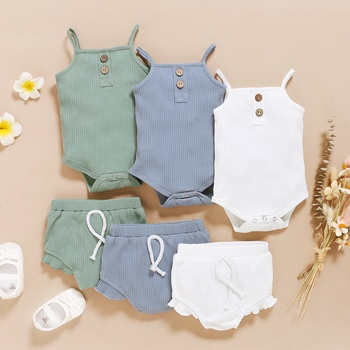 2pcs Baby's Clothing Cotton Solid Girl Baby's Sets