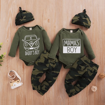 3pcs Baby Boy casual Camouflage Baby's Sets Romper Cotton Fashion Long Sleeve Infant Clothing Outfits