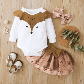 1pc Baby Girl Long-sleeve Cotton Romper Animal & Fox Sweet Suit-dress