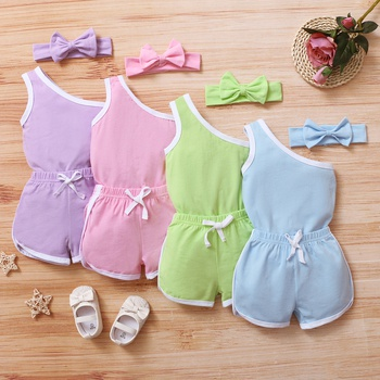 3pcs Baby Girl Sleeveless Cotton Romper casual Baby's Sets