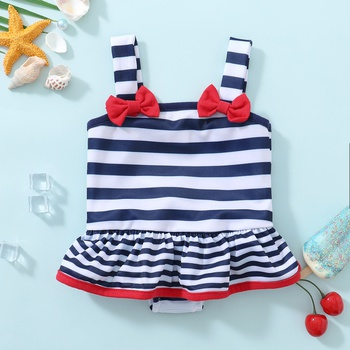 1pc Baby Girl Strappy Stripe Bowknot Summer Swimwear Romper