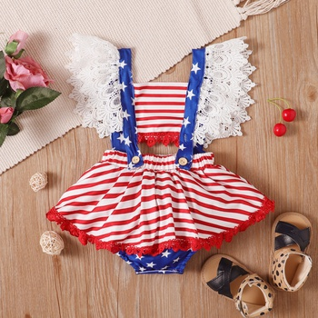 Baby Independence Day Lace Strappy Romper