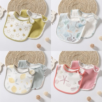 2-pcs Adorable Cotton Baby Bibs Newbron Toddler Kids Burp Cloth Feeding Apron Baby Saliva Towel Scarf Bandana Bibs Toddler Stuff
