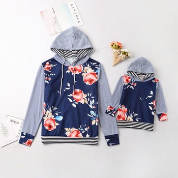 Autumn Floral Long-sleeve Hoodies for Mom and Me