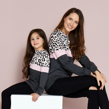 Leopard Print Colorblock Sweatshirts for Mom and Me