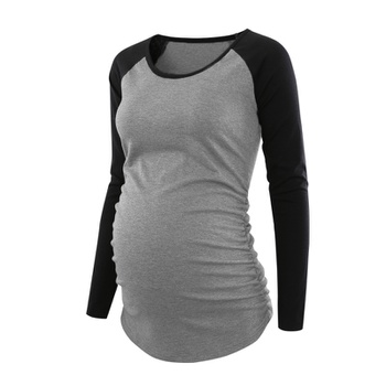 Maternity Round collar Color Block Color block Grey T-shirt