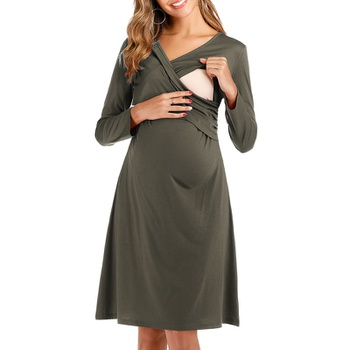 Maternity Plain Long-sleeve Nursing Dress