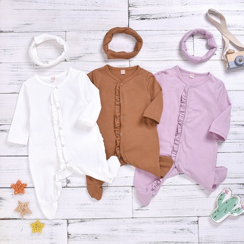 Baby Girl Solid Long-sleeve Jumpsuit and Headband