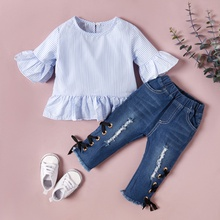 Baby / Toddler Girl Striped Top and Hole Side Jeans Set