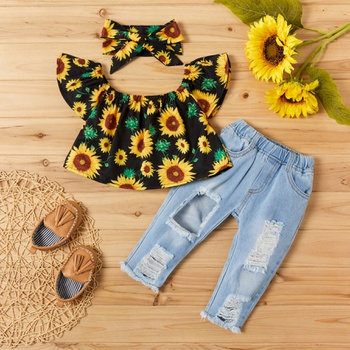 3-piece Sunflower Print Short-sleeve Top and Jeans Set