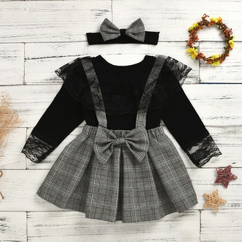 3-piece Baby / Toddler Black Lace Top and Plaid Overalls Set with Headband